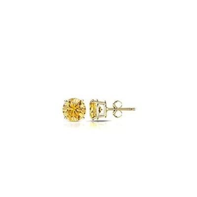 14k Yellow Gold Round Yellow Diamond 4-Prong Basket Stud Earrings (1/3 cttw