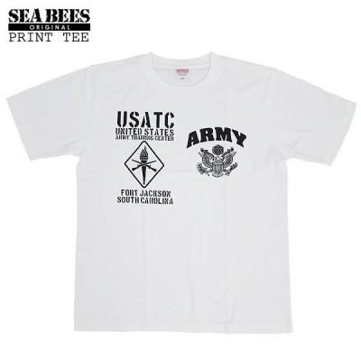 1点ならメール便可 オリジナルプリント 半袖Tシャツ 『USATC・ARMY』 【ホワイト×ブラック】