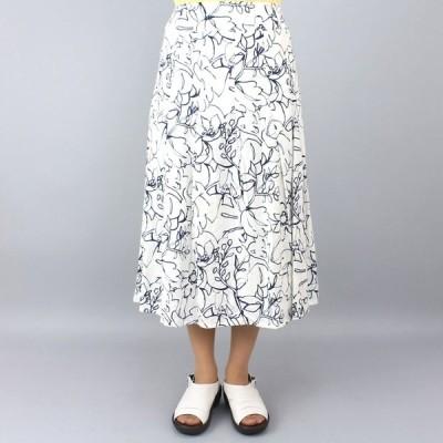 アコーレ 白紺花柄フレアスカート