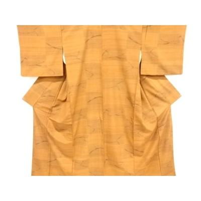 リサイクル 抽象模様織り出し手織り真綿紬着物