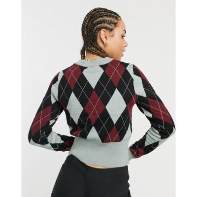 ノイジーメイ レディース ニット&セーター アウター Noisy May crew neck sweater in argyle print Slate gray plaid