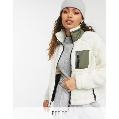 ノイズィーメイ Noisy May Petite レディース ジャケット アウター Borg Zip Through Jacket In Cream With Khaki Pocket クリーム