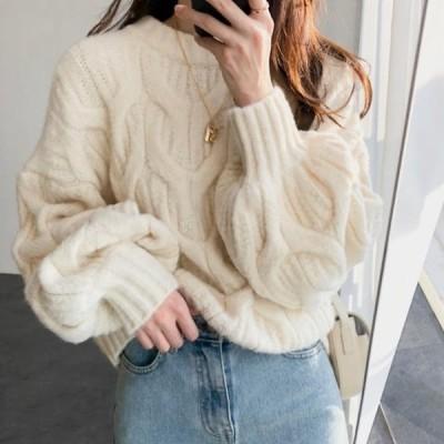 ニット セーター トップス ボリューム袖 バルーンスリーブ 編み ラウンドネック 長袖 ゆったり 大人可愛い カジュアル フェミニン きれいめ
