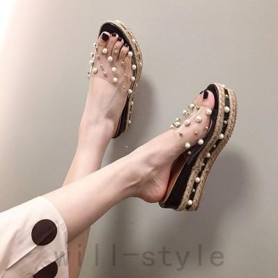 PVCクリアサンダルパールウエッジソール厚底韓国オルチャンきれいめストリートミュールかわいい原宿系靴シューズ