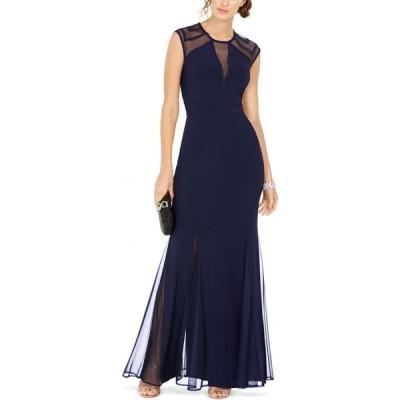 ナイトウェイ Nightway レディース パーティードレス ワンピース・ドレス Geometric Illusion Gown Navy