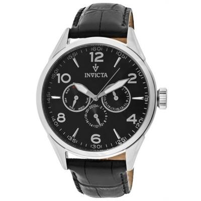 メンズ 腕時計 インヴィクタ New Mens Invicta 12195 Vintage Swiss Chronograph Black Leather Watch