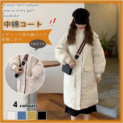 柔らかい ロング丈 通勤 韓国風 おしゃれ 体型カバー ゆったり 通気 暖かい 保温 コート アウター 防寒 中綿コート フード付き