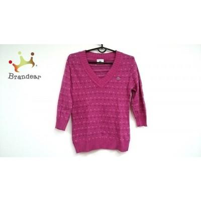 ラコステ Lacoste 長袖セーター サイズ38 M レディース ピンク×白×マルチ ドット柄      値下げ 20201010