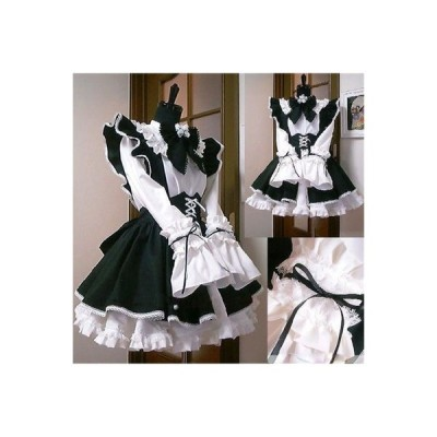 ゴシック ロリータ服 メイド服 ゴスロリ ワンピース エプロン ドレス コスプレ衣装