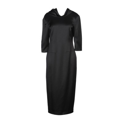 MALLONI 7分丈ワンピース・ドレス ブラック 44 レーヨン 80% / ウール 20% 7分丈ワンピース・ドレス