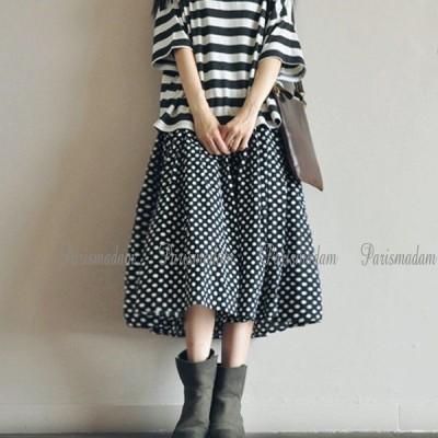 ギャザースカートブラック×ホワイト麻ドット柄リネンスカートミモレ丈ボリュームたっぷりフリーサイズウエストゴム