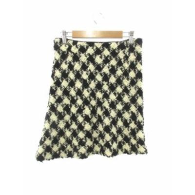 【中古】ロペ ROPE スカート ミニ 台形 総柄 ウール 63-90 黒 ブラック /Y2I46 レディース