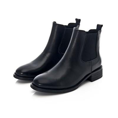 Uroi ショートブーツ サイドゴア 本革 レディース レインブーツ チェルシーブーツ アンクルブーツ フラット 梅雨 雨靴 防水 通勤 カ