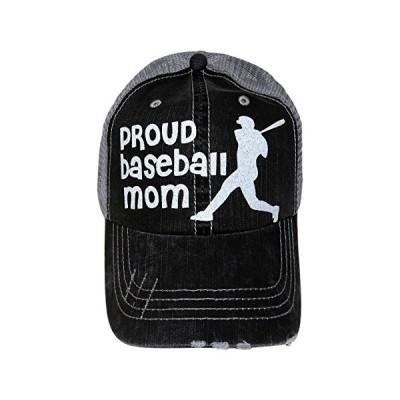 ホワイト グリッター Proud ベースボール Mom Distressed グレー Trucker ベースボール キャップ(海外取寄せ品)