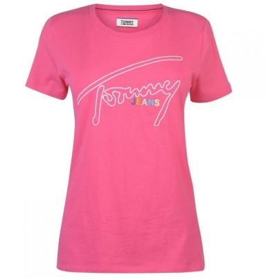 トミー ジーンズ Tommy Jeans レディース Tシャツ トップス Tommy Signature T Shirt Fuchia Purple