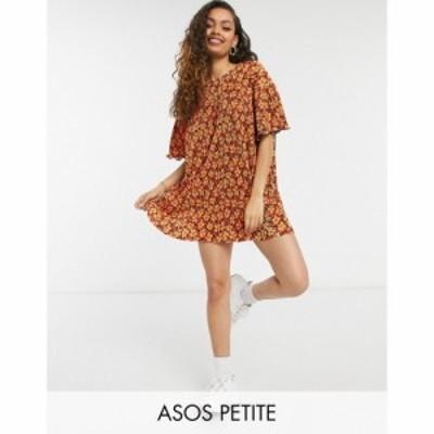 エイソス ASOS Petite レディース ワンピース ワンピース・ドレス Petite Mini Plisse Crew Neck Dress In Orange And Black Floral