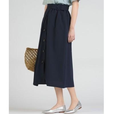 スカート 【socolla】麻調合繊前ボタンラインスカート
