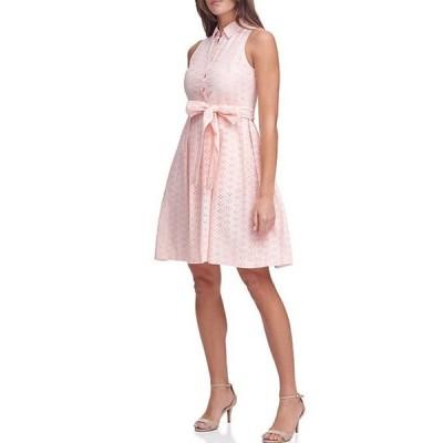 トミー ヒルフィガー レディース ワンピース トップス Sleeveless Eyelet Cotton Button Front Shirt Dress