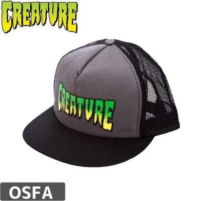 スケボー キャップ クリーチャー CREATURE Logo Mesh Trucker Cap グレー x ブラック NO18