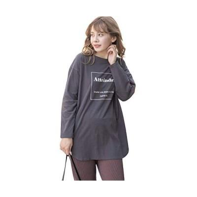 [アドティエ]裾ラウンドプリントロングTシャツ ロゴ ロンT 秋冬 カットソー プリント (チャコール Free Size)