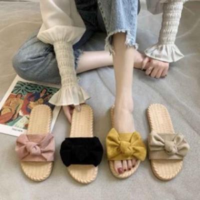 2021 スリッパ 女夏 スリッパ 女のファッション リボン ビーチ靴 美脚 フラットシューズ サンダル
