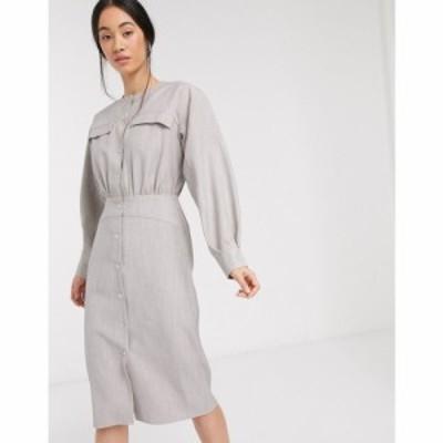 エイソス ASOS DESIGN レディース ワンピース シャツワンピース ワンピース・ドレス premium casual textured popper midi shirt dress i