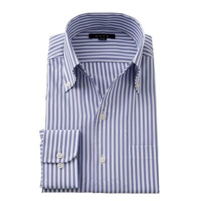 ワイシャツ メンズ 長袖 スリム ビジネスシャツ Yシャツ カッターシャツ 形態安定 ボタンダウン スキッパーシャツ イタリアンカラー おしゃれ 大きいサイズ 青
