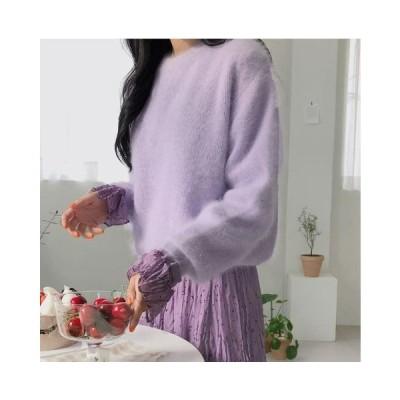 トップス レディース 韓国 ファッション ニット セーター ゆったり 無地 カットソー もこもこ おしゃれ フェミニン 可愛い jm1153