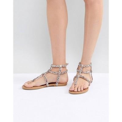 エイソス レディース  サンダル シューズ ASOS QUPID Embellished Gladiator Sandals