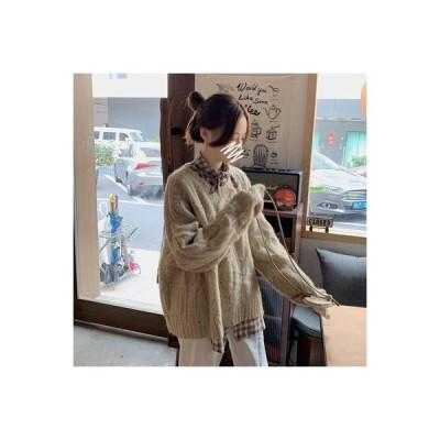 【送料無料】レトロ ツイスト 紋 長袖のセーター 女 秋 韓国風 ルース 怠 | 346770_A63735-3178265
