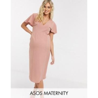 エイソス レディース ワンピース トップス ASOS DESIGN Maternity angel sleeve v neck midi shift dress in pink Rose pink