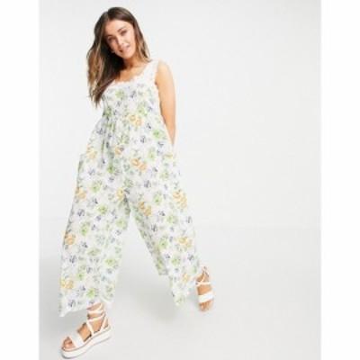 エイソス ASOS DESIGN レディース オールインワン ジャンプスーツ ワンピース・ドレス broderie trim jumpsuit in vintage floral