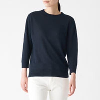 良品計画無印良品 UVカットフレンチリネンクルーネックセーター 婦人 M ネイビー 良品計画