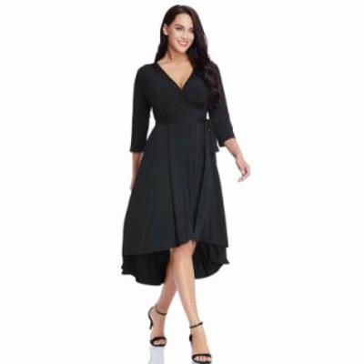 【 2XL ~ 6XL 】 大きいサイズ レディース カジュアル プラスサイズ ドレス Vネック 七分袖 5xl 4xl 3xl  70532