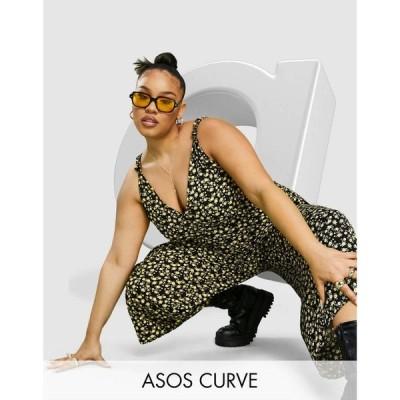 エイソス ASOS Curve レディース オールインワン ジャンプスーツ ASOS DESIGN curve 90s tie shoulder jumpsuit in yellow floral イエローフローラル