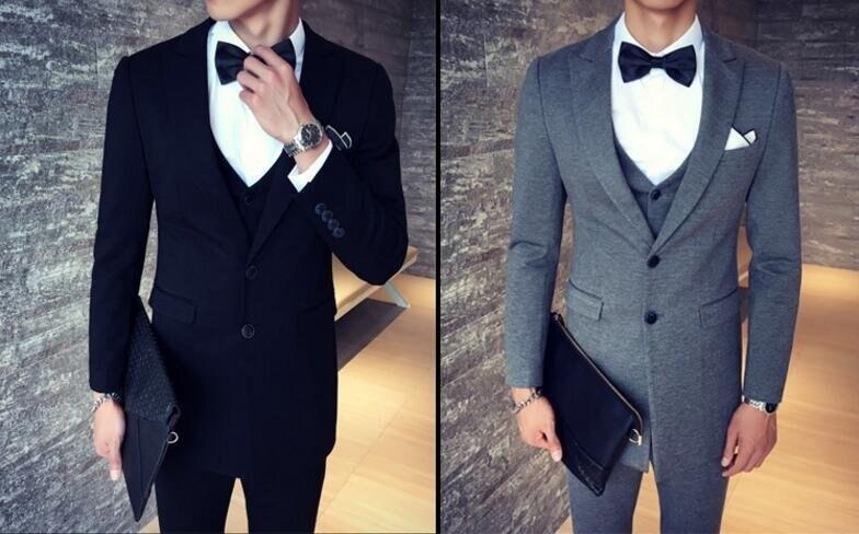 FINDSENSE品牌 韓國男 抗皺面料 西裝外套穿搭 三件式套裝 成套西裝 西裝修身 外套+背心+褲子