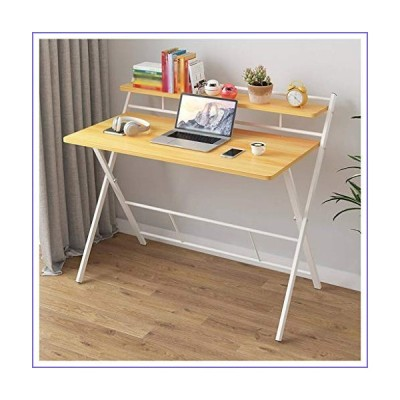 Yevison White Table Storage Shelves Folding Computer Desk Decent and Steady Home Office Desk Workstation Table Strong and Durable[並行輸