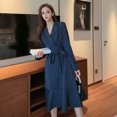 レディースファッション 春の女性ストライプブレザードレスエレガントなオフィスレディードレスパーティースタイルスリムスーツ女性ドレス