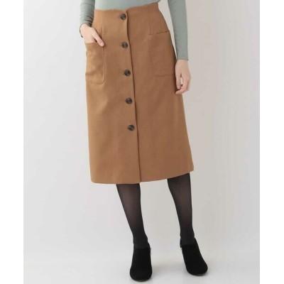 OFUON/オフオン 【洗える】ウールライクフロントボタンスカート キャメル 38