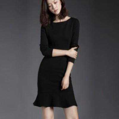 ドレス キャバドレス ワンピース パーティードレス 大きいサイズ タイト 無地 シンプル 長袖 ひざ丈 オフィス フォーマル レディース