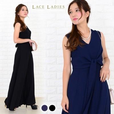 オールインワン パンツドレス リボン紐付き ブラック ネイビー ワイドパンツ ゆったり 幅広 ドレッシー アレンジ自由 10分丈 ノースリーブ