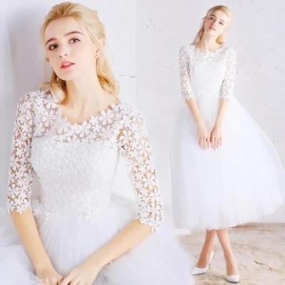 ウェディングドレス 二次会 パーティードレス 花レース花嫁ドレス ホワイト