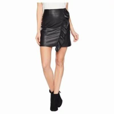 ワンステート ミニスカート Ruffled Faux Leather Mini Skirt Rich Black