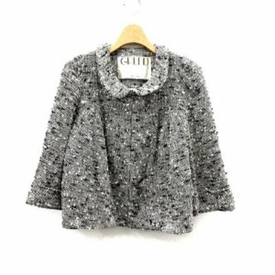 【中古】グリード GREED ジャケット ステンカラー 七分袖 ツイード M 白 ホワイト /KS9 ●D レディース