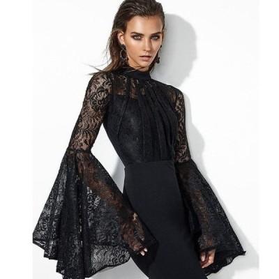 総レース 背中開き フレア袖 ハイネック ショートドレス 大きいサイズ 上品 パーティー30代 結婚式 20代 お呼ばれ 二次会