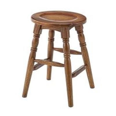 スツール 2脚セット 高さ45cm 木製 天然木 椅子 イス 腰掛 アンティーク調 ブラウン