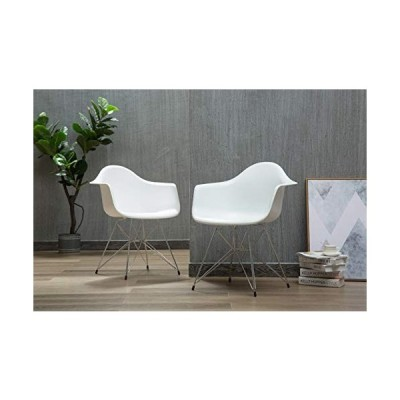 Porthos Home Set of 2 Modern Designer Room Exceptional Comfort, White with Chrome Metal Legs Affordable Quality Dining Chair Set Eames Style, One Size