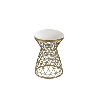 Wire Mesh Form Stool in Crea and Gold