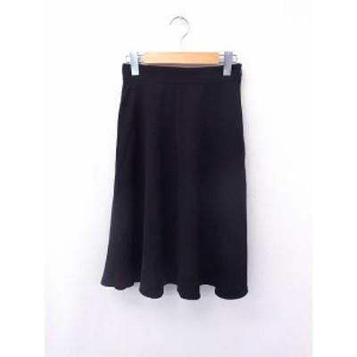 【中古】ローズバッド ROSE BUD スカート フレア ロング丈 無地 シンプル F ブラック 黒 /FT6 レディース