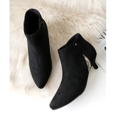 AmiAmi / サイド異素材切り替えショートブーツ/5センチヒール WOMEN シューズ > ブーツ